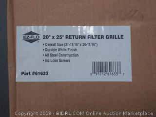"EZ-FLO 61633 Steel Return Air Filter Grille for Sidewall and Ceiling Installation, 20"" x 25"" White"