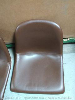 leather dining chair antique Brown set of 2