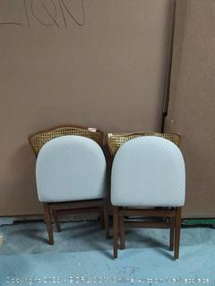 stakmore folding fruitwood chairs 2 pack(tops cracked)