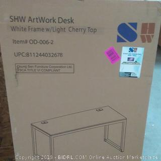 55 in large computer desk white / cherry color shw brand