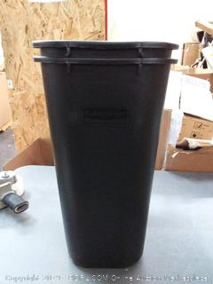 two medium-sized Rubbermaid office trash cans black