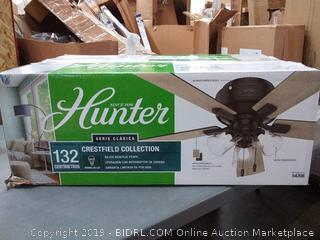 Hunter Indoor Low Profile Ceiling Fan, with pull chain control - Crestfield 52 inch, New Bronze, 54208