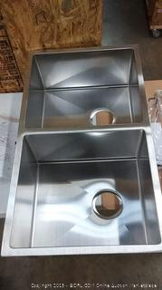 strive undercounter double equal sink with rack