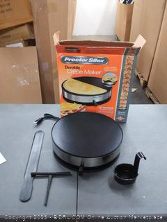 Proctor Silex 38400 Electric Crepe Maker, 13 Inch Griddle & Spatula(Powers on)