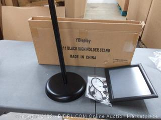 Y display black sign holder stand 8.5 by 11