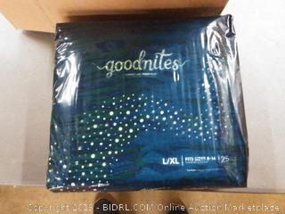 Goodnites size L/XL fit size 8 through 14 75 count
