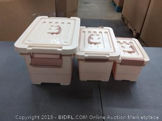 3 pack khaki plastic tubs 5L 10L 16L