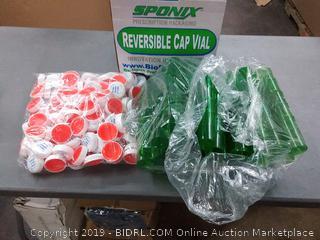 prescription Pharmacy vials lids and plastic containers