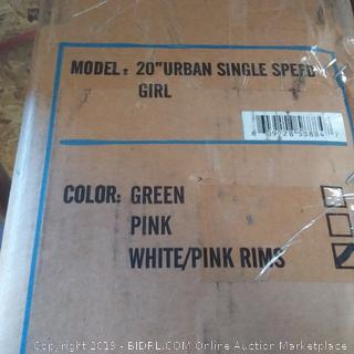 20 inch Urban single-speed girl bicycle color white / pink rims Firth sports brand