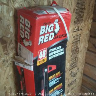 big red Jack utility Jack capable up to 6,000 lb 3 ton capacity