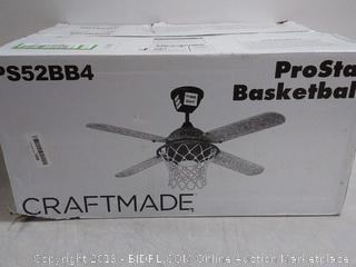 Kraftmaid 4-blade 52-inch ProStar basketball ceiling fan with light and remote (online $350)