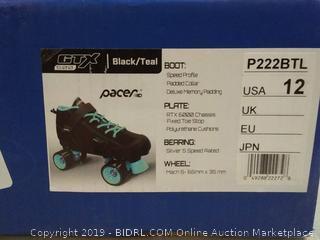 Pacer black and teal roller skates size USA 12 men's (online $85)