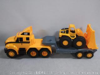 cat heavy mover caterpillar toy semi truck and trailer with lights and sounds