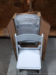 4 white fold up chairs