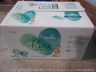 Pampers pure collection size 2- 12 to 18 lb 68 diapers