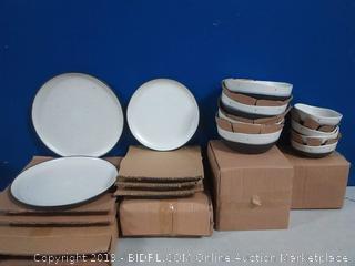 GE Rhinebeck 16pc double bowl dinnerware set white and black