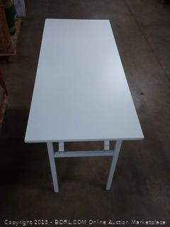 white wood table with metal legs (small chips in 2 corners)