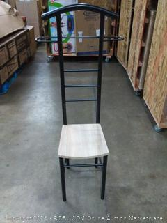 small wood chair with long metal back support