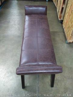 Duvall Extra Wide Ottoman Bench in Distressed Brunette Air Faux