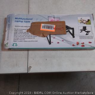 multifunctional laptop table marked as damaged