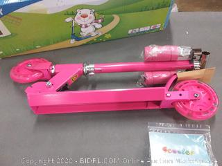 Beleev folding Kick Scooter for years and up rose pink