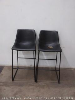 """Walker Edison 30"""" Industrial Faux Leather Barstools, set of 2"""