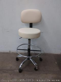 white leather drafting stool with foot rain