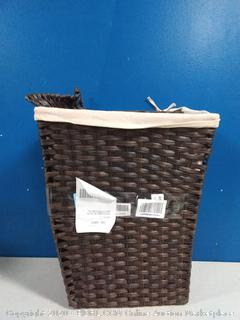 Whitmor Rattique Laundry Hamper with Lid and Removable Liner(Lid bent)