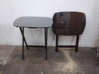 2 dark brown TV trays