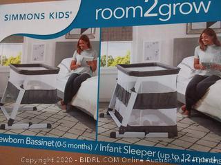 Simmons Kids Room2Grow Newborn Bassinet to Infant Sleeper, Grey Tweed (online $129)