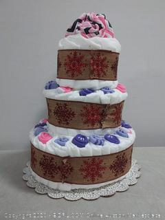 Diaper Cake Decorated with Baby Socks and Bodysuits (3 Tier, Girl - Pink) online $89