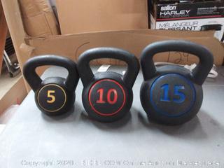 Iunnds set of 3 kettlebells 5 lb 10 lb and 15 lb