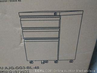 Devaise 3 drawer steel mobile pedestal black file cabinet (online $119)