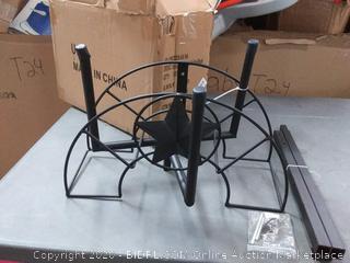 black metal water hose holder