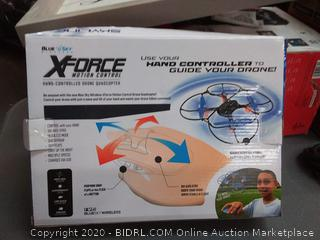 X-Force Motion Controlled Hand Controlled Drone Quadcopter(powers up)(batteries not included)