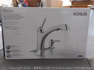 Maxton pull out kitchen faucet with soap lotion dispenser polished chrome finish