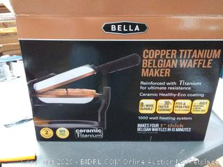 Bella copper titanium Belgian waffle maker (powers on) (new in Packaging)