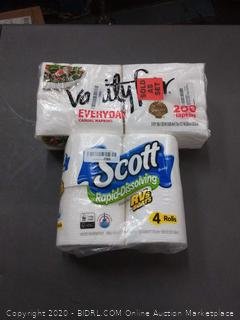 Scott Rapid-Dissolving Toilet Paper 4 count+ Vanity fair 2-ply napkins
