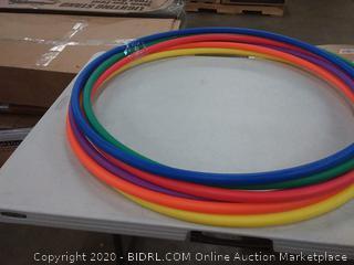 5 hula hoops multicolored rainbow