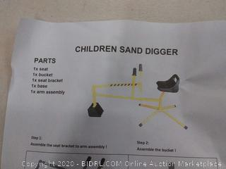 MTB Kid Ride-on Dig Working Crane Sand Play Digger Yellow Scooper Outdoor Crane for Sandbox Exavator Dig Toy in Sand, Beach, Snow, Dirt--- Backyard Toys for chrildren