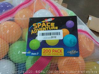200 SPACE ADVENTURE Soft Ball Pit Balls, Fun Illustrations, Mesh