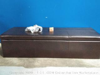 Brown ottoman with storage(corner torn)