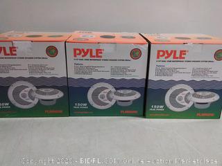 150 Watt Pyle Dual 6.5'' Waterproof Marine Speakers Full Range 3 Count