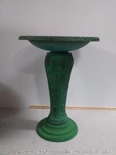 """Exaco Trading Co. FM-2470G Exaco Endura Clay Scroll Vine Marbleized Birdbath, Two Shade Green 20"""" x 20"""""""