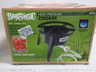 Bayou Classic high pressure cooker 14in wide cooking surface (online $48)