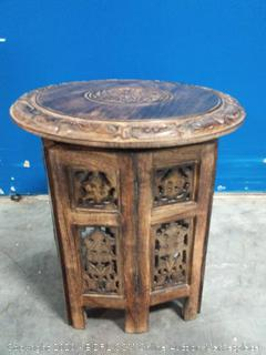 solid wood hand carved 15 inch high side table (online $72)