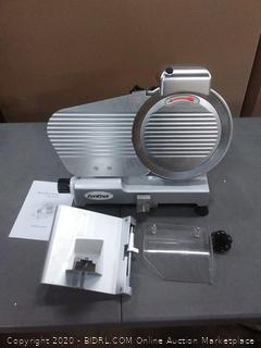 "ZENY Semi-Auto Meat Slicer Stainless Steel 10"" Blade Electric (used) - powers on"