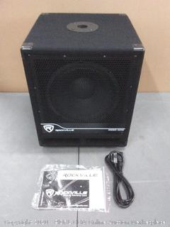 Rockville Bass Gig Active Powered PA Subwoofer DJ/Pro 1200 Watt, 10 inch (powers on)