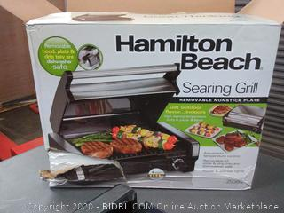 HAMILTON BEACH SEARING Grill Indoor BBQ with Removable lid(powers on)