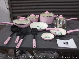 GreenLife CC002377-001 Soft Grip Set, 16-Piece, Pink(3 pans dented)
